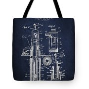 Oil Well Pump Patent From 1912 - Navy Blue Tote Bag