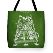 Oil Well Rig Patent From 1893 - Green Tote Bag