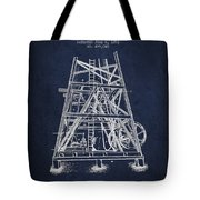 Oil Well Rig Patent From 1893 - Navy Blue Tote Bag