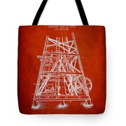 Oil Well Rig Patent From 1893 - Red Tote Bag