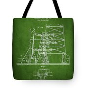 Oil Well Rig Patent From 1917- Green Tote Bag
