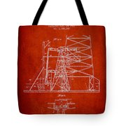 Oil Well Rig Patent From 1917- Red Tote Bag
