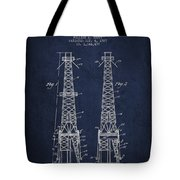 Oil Well Rig Patent From 1927 - Navy Blue Tote Bag