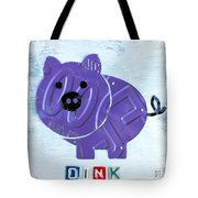 Oink The Pig License Plate Art Tote Bag