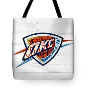 Okc Thunder Basketball Team Retro Logo Vintage Recycled Oklahoma License Plate Art Tote Bag