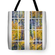 Old 16 Pane White Window Colorful Fall Aspen View  Tote Bag