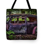 Old Abandoned Car In The Woods Tote Bag