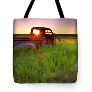 Old Abandoned Pick-up Truck Sitting In Tote Bag