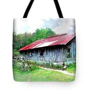 Old Barn Along Golden Road Filtered Tote Bag