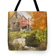 Old Barn And Dam In Autunm Vienna Maine Tote Bag