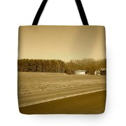 Old Barn And Farm Field In Sepia Tote Bag