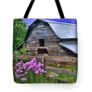 Old Barn And Flowers Tote Bag