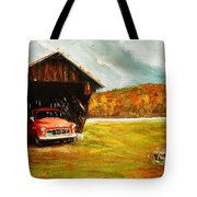 Old Barn And Red Truck Tote Bag