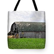 Old Barn And Round Bales Tote Bag