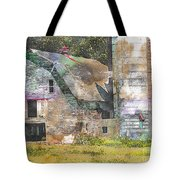 Old Barn And Silos Digital Paint Tote Bag