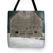 Old Barn In A Snow Storm Tote Bag by Edward Fielding