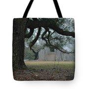 Old Barn In Fog Tote Bag