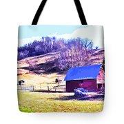 Old Barn In November Filtered Tote Bag