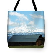 Old Barn With Mount Rainier View Tote Bag