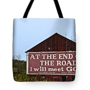 Old Barn With Religious Sign Tote Bag