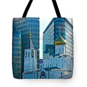 Old Believer-new Believer Church Amid Skyscrapers In Moscow-russia Tote Bag