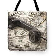 Old Black Phone Receiver On Money Background Tote Bag