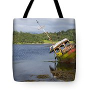 Old Boat In The Loch  Tote Bag