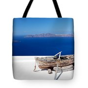 Old Boat On The Roof Of The Building On Santorini Greece Tote Bag