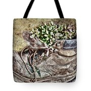 Old Boot Flowerpot Tote Bag