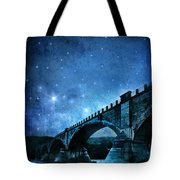 Old Bridge Over River Tote Bag