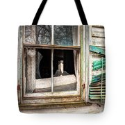 Old Broken Window And Shutter Of An Abandoned House Tote Bag