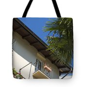 Old Building And Palm Trees Tote Bag