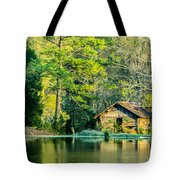 Old Cabin By The Pond Tote Bag