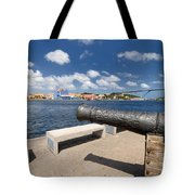 Old Cannon And Queen Juliana Bridge Curacao Tote Bag
