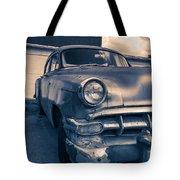 Old Car In Front Of Garage Tote Bag