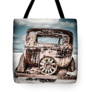 Old Car In The Snow Tote Bag