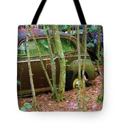 Old Car In The Woods Tote Bag