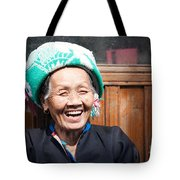 Old Chinese Zhuang Minority  Lady Smiling China Tote Bag