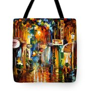 Old City Street - Palette Knife Oil Painting On Canvas By Leonid Afremov Tote Bag