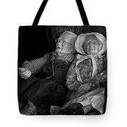 Old Couple Mannequins In Shop Window Display Tote Bag