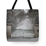Old Driveway Gate In Winter Tote Bag