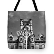 Old Dupage County Courthouse Flag Black And White Tote Bag