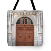 Old Entrance Door With Lionheads Tote Bag