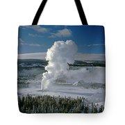 3m09133-01-old Faithful Geyser In Winter - V Tote Bag
