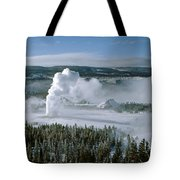 3m09132-01-old Faithful Geyser In Winter Tote Bag