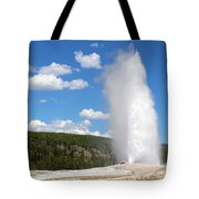 Old Faithful Geyser In Yellowstone National Park  Tote Bag
