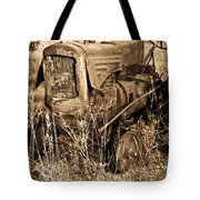 Old Farm Tractor In Sepia 1 Tote Bag