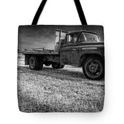 Old Farm Truck Black And White Tote Bag