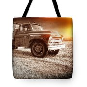 Old Farm Truck With Explosion At Night Tote Bag