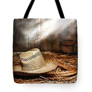 Old Farmer Hat And Rope Tote Bag